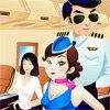 L'hotesse de l'air dans son avion